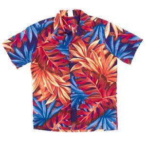 Hilo Hattie Button Shirt Men's Large Red Hawaiian